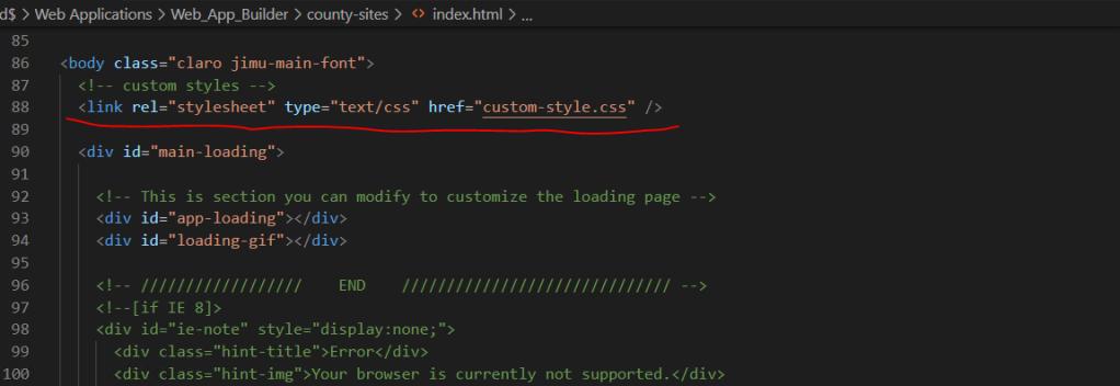 screen shot of a code editing program